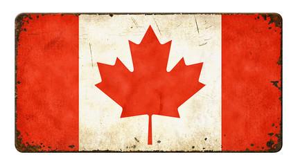 Altes verrostetes Blechschild - Flagge Kanada