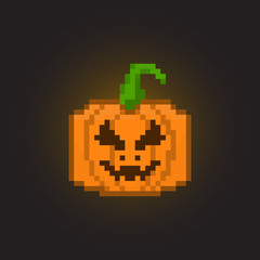 Pixel halloween pumpkin for games and applications