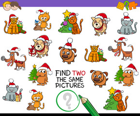 find identical pictures activity with Xmas pets