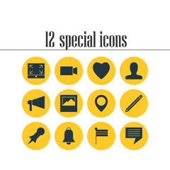Vector Illustration Of 12 Internet Icons. Editable Pack Of Video Camera, Map Marker, Map Pointer And Other Elements.