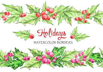 Watercolor horizontal garlands . Hand painted seamless floral borders with rowan and branches. Christmas. New Year. Can be use in winter holidays design, poster, invitation.