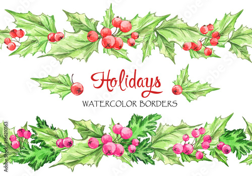 watercolor horizontal garlands hand painted seamless floral