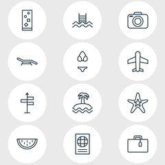 Vector Illustration Of 12 Season Icons. Editable Pack Of Photo Apparatus, Certificate, Palm And Other Elements.