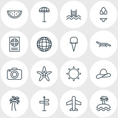Vector Illustration Of 16 Season Icons. Editable Pack Of Fish , Photo Apparatus, Island Elements.