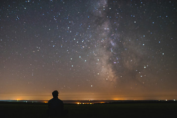 Man under the center of our home galaxy, the Milky Way galaxy, night stars landscape