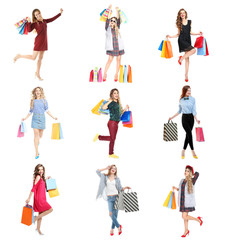 Beautiful women with shopping bags on white background