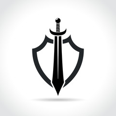 shield and sword icon on white background