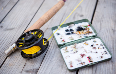 Fly fishing equipment on bench
