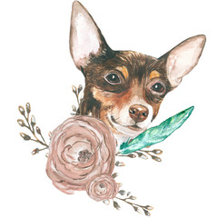 dog flowers. Watercolor close-up portrait of dog isolated on a white background. Funny dog head. Hand drawn cute pet. A popular toy. Greeting card design clip art illustration