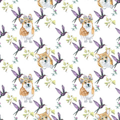 Dogs pattern/ Funny cartoon dogs characters different breads doggy puppy illustration. Furry human friends cute animals