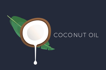 Coconut logo. Half of the coconut with flowing milk and a palm leaf. vector illustration