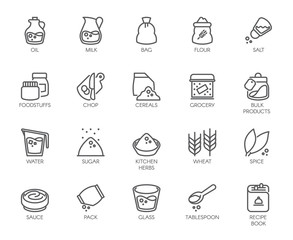 20 line icons on cookery theme. Ingredients for cooking and kitchen accessories. Outline logo isolated on white background. Editable Stroke. 48x48 Pixel Perfect