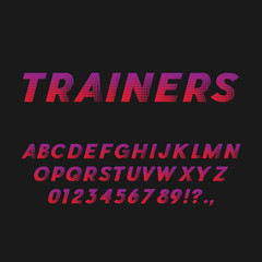 Sport Style Bold Italic Font. Sans Serif Typeface. Letters, Numbers, Punctuation Marks. Latin Alphabet. Vector.