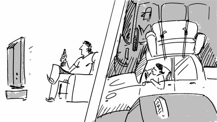 Man watching TV and driving a car Vector for cartoon, or storyboard project