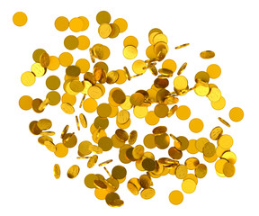 Falling gold coins on white background