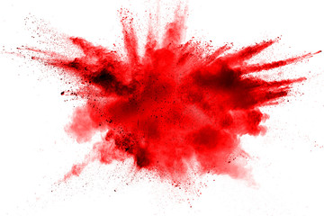 color powder explosion on white background.
