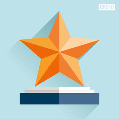 Prize-winning star icon in flat style. Reward on the podiumon. Blue background. Business object. Vector design element for you project