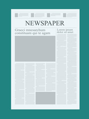 Graphical design newspaper template, highlighting figures and testimonials vector mock up of a blank daily newspaper graphical design newspaper template