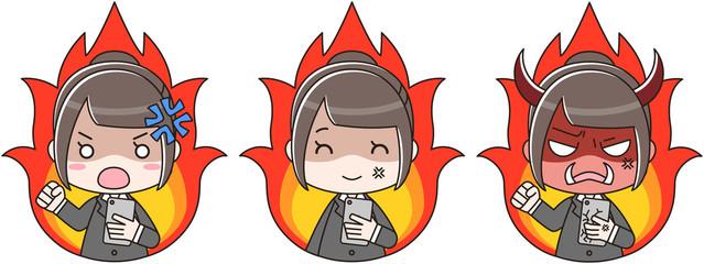 スマートフォン スマホ 女性 リクルートスーツ 怒り 燃える 炎