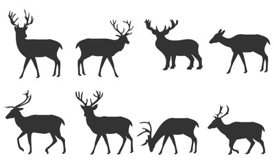 Silhouette deer set