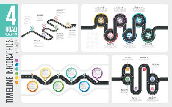 Navigation map 6 steps timeline infographic concepts. 4 winding