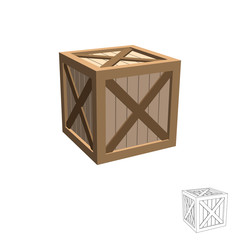 Wooden box. Isolated on white background. 3d Vector illustration.