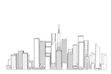3D model of city. Isolated on white background. Vector outline illustration.