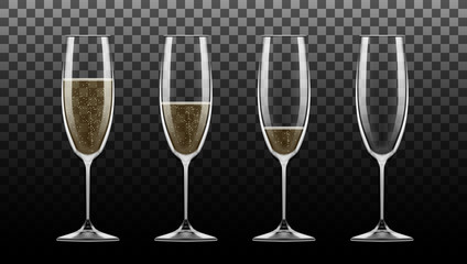 Realistic Transparent Champagne Glass