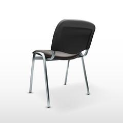 3D Modern Office Chair Black Cloth. Back View