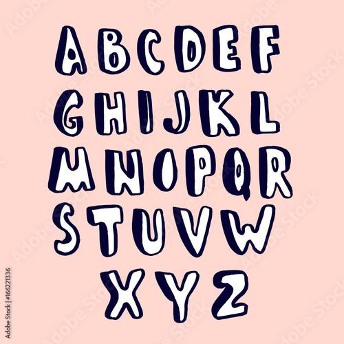 Creative hand drawn alphabet  Stylish ABC made with ink Vector