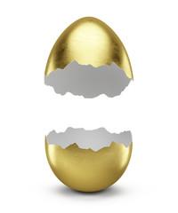 Golden egg split in half isolated on white - 3d render.