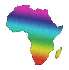 Africa gay pride lgbt rainbow flag map concept isolated on white background.