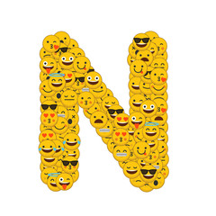 Emoji smiley characters capital letter N