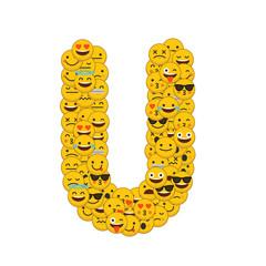 Emoji smiley characters capital letter U
