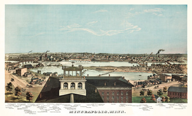 Minneapolis, Minnesota, old bird-eye view. Created by Hoffman, Chas, Proper & Co. Props., publ. Geo. H. Elisbury, V. Green, Chicago, 1874
