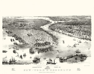 New York Old aerial view. ByJohn Bachmann. Publ. A. Guerber & Co., New York, 1851