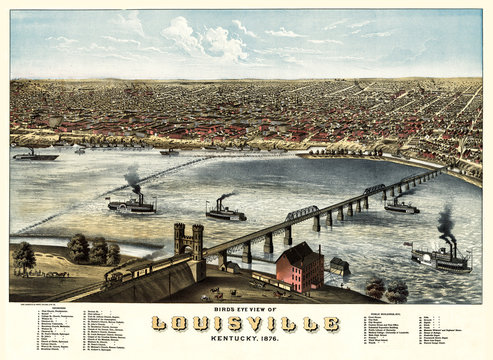 Louisville, Kentucky, old aerial view of . By A. Ruger. Publ. Charles Shober & Co., Chicago Litographing Co., Chicago, 1876