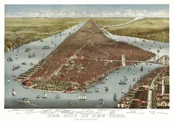 New York old aerial view of. Currier & Yves, New York, 1884