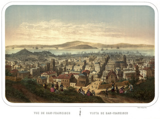 San Francisco, California, Old bird-eye view. Created and published by Isador Laurent Deroy,  Paris, 1860