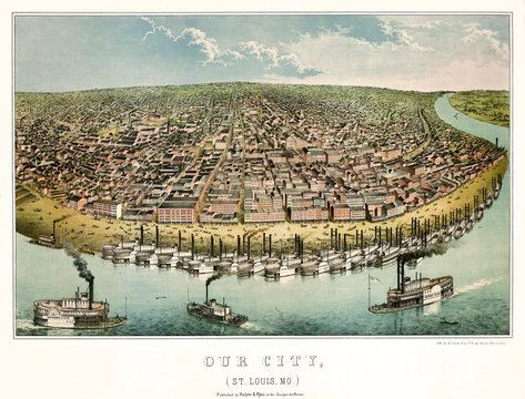 Saint-Louis, Missouri, Old aerial view. Created by Janicke & Co., publ. Hagen & Pfau on Anzeiger des Westen, Saint Louis, 1859