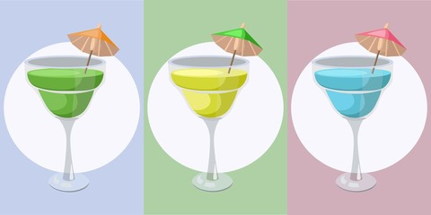 Summer cocktail fruits set vector. Fresh drink retro style background