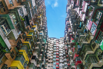 Poster de jardin Chine Colorful crowded flat in hong kong china