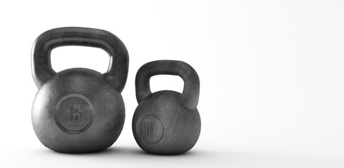 Heavy kettle bell isolated on white background, 3d Rendering