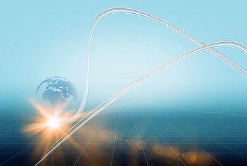 Data transfer lines moving fast around the earth globe