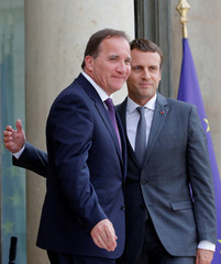 French President Emmanuel Macron meets Sweden's Prime Minister Stefan Lofven at the Elysee Palace in Paris