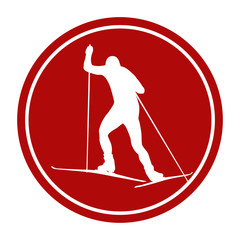 sports sign icon back male athlete skier
