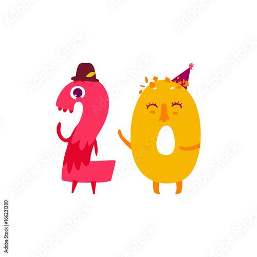 Vector Cute Animallike Character Number Twenty 20 Flat Cartoon