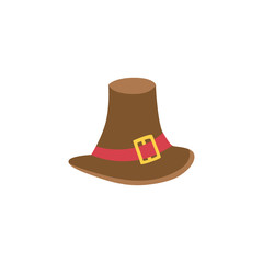 Vector pilgrim hat flat illustration isolated on a white background. Cartoon brown pilgrim hat with golden buckle and red belt. Sign of thanksgiving, autumn and harvest.