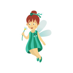 Vector fairy girl illustration on white background. Cute cartoon smiling child with butterfly wings in funny dress isolated. Magic flying kid holding flower with stem. Element for your design