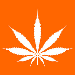 Cannabis (marijuana) leaf white icon .